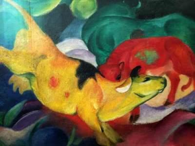Franz Marc - Kühe, gelb-rot-grün, 1912